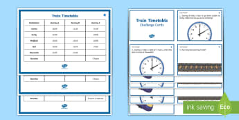 LKS2 Train Timetable Compare Durations of Events Differentiated Challenge Card Activity - timetable, duration of time, find duration of time, telling the time, time difference