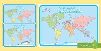 World Map Display Posters Arabic - Arabic/English - الإنجليزية / العربية-Arabic-translation - World Map, Display Posters, Holiday, Travel agent, travel, role play, EAL, Arabic