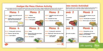 Healthy Eating Analysing Menu Choices Activity English/Spanish - eating, health, healthy eating, EAL,