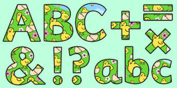 Chick Themed Display Lettering - easter, spring, letters, display