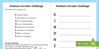 Kindness Acrostic Poem Worksheet / Activity Sheet - NI, Kindness Week, acrostic, synonyms