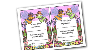 Note From Teacher Well Behaved Today (Fairy Themed) - note from teacher well behaved today, well behaved today, note from teacher, notes, praise, comment, note, teacher, teacher's, parents, well behaved, today, fairy themed, fairy, themed