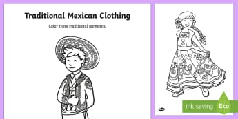 Traditional Mexican Clothing Coloring Activity - Cinco de Mayo, china poblana, charro, Mexican clothing, Mexican culture