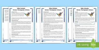 LKS2 Mike Schultz 2018 Winter Paralympic Athlete Differentiated Reading Comprehension Activity - winter, events, paralympics, snow, sports, inspirational, motivational, PyeongChang