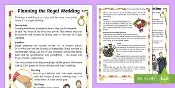KS1 Planning a Royal Wedding Fact Sheet - Prince William, Kate Middleton, William and Kate, Duke and Duchess of Cambridge, information