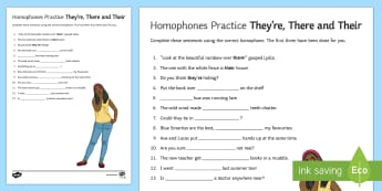 KS3 Homophones Practice They're There Their Worksheet / Activity Sheet - Homophones Practice Worksheet They're There Their - homophone, spelling, common, error, practise, p