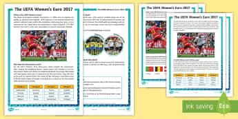 KS2 UEFA Women's Euro 2017 Differentiated Fact File - football, tournament, sport, ladies football, information, fact files
