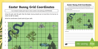 Year 3 Easter Bunny Grid Coordinates Activity Sheet - Australia Easter Maths, Easter, Australia, mathematics, ACMMG065, mapping, map, coordinates, pathway
