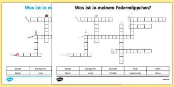 Items In My Pencil Case German Crossword Activity Sheet, worksheet