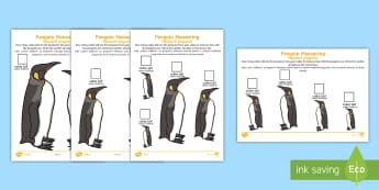 Penguin Measuring with Cubes Differentiated Activity Sheet English/Romanian - The Arctic, Polar Regions, north pole, south pole, explorers, measure, measuring, measurement, centi