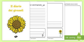 Il diario dei girasoli Esercizio di Scrittura - gira, sole, scienze, esperimento, italiano, italian, materiale, scolastico
