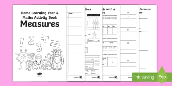 Year 4 Measures Learning from Home Maths Activity Booklet - Learning from Home Maths Workbooks, length, money, converting units of measure, time, Year 4 maths h