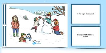 Iarna - Planșă pentru dezvoltarea vorbirii - iarna, planșă, dezvoltare gândirii, comunicare, întrebare, răspuns, materiale, materiale didactice, română, romana, material, material didactic