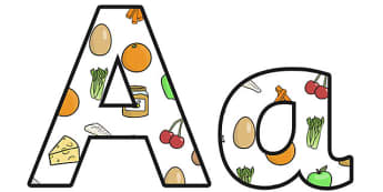 Healthy Eating Small Lowercase Display Lettering - healthy eating, healthy living, healthy eating display letters, healthy eating lettering, healthy food