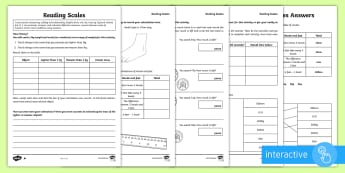LKS2 Reading Scales Differentiated Go Respond Activity Sheets - KS2, Maths, Lower Key Stage Two, Lower Key Stage 2, Lower KS2, Y3 and Y4, LKS2, reading scales, weig