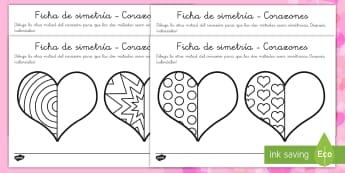 Fichas de simetría: Día de San Valentín - día de San Valentín, Valentín, simetría, reflejo, patrón, imagen, copiar, motricidad fina, día