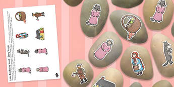 Little Red Riding Hood Story Stone Image Cut-Outs - story stone, image, cut outs