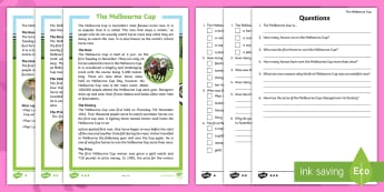 F-2 The Melbourne Cup Differentiated Reading Comprehension Activity - Melbourne Cup, melbourne, Australia, events, horse, races, reading, comprehension, fact file, factsh