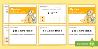 Year 6 Algebra Challenge Cards - linear number pattern, maths mastery, linear sequence, simple formulae, formula, missing number prob