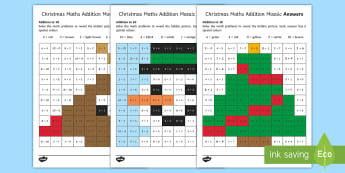 Christmas Maths Addition to 10 Mosaic Worksheet / Activity Sheet - Christmas, addition, Adding to 10, mathematics, independent activity, christmas math, worksheet, act