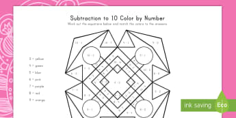 Rangoli Pattern Subtraction to 10 Color by Number Activity Sheet - Diwaliu, Hinduism, math, art, subtraction, worksheet, symmetry, problem-solving, math center,