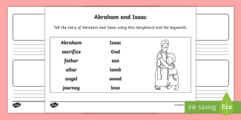 Abraham and Isaac Storyboard Worksheet / Activity Sheet - bible stories, old testament, retelling a story, christianity, judaism, worksheet, religion, r.e