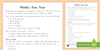 Matilda's Brain Power Activity  to Support Teaching On Matilda Chapter 19 - Matilda, Chapter Chat, Chapter Chat Years 3 and 4, Novel Studies, Roald Dahl