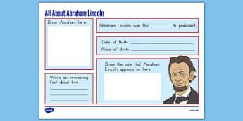 Abraham Lincoln Graphic Organizer - presidents day, usa, abraham lincoln worksheet, graphic organizer