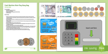 Cash Machine Role-Play Busy Bag Resource Pack for Parents - cash, money, pounds, sterling, penny, pennies, role play, bank
