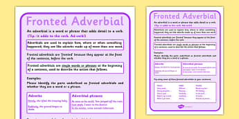 Fronted Adverbial Display Poster - fronted adverbial, display poster, display, poster
