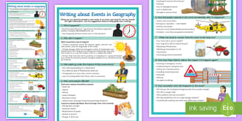 Writing about Events in Geography Display Poster - structure, exam responses, writing template, events, causes, impacts, responses, evaluation