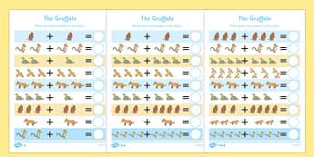 The Gruffalo Addition Sheet - the gruffalo, addition sheet, addition, addition worksheet, the gruffalo worksheet, maths worksheets
