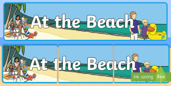 At the Beach Display Banner - crabby spit, camping, seaside treasures, paddling, surfing,
