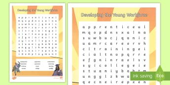 World of Work Word Search - Keywords, skim, scan, vocabulary, topic words, Developing the young workforce,Scottish