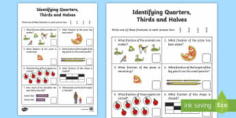 Identifying Quarters, Thirds and Halves Worksheet / Activity Sheet - quarters, halves, thirds, worksheet, fractions