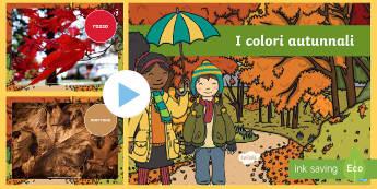 Le foto dei colori autunnali Presentazione - autunno, colori, foglie, rosso, arancione, verde, autunnale, power, point, italiano, italian, materi