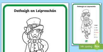 Colour the Leprechaun Activity Sheet Gaeilge - colour by number, dathaigh, Leprechaun,Irish