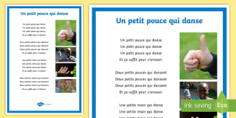 One Little Thumb Nursery Rhyme French - EYFS, KS1, KS2, French, Resources,une petit pouce, thumb, numbers, parts of the body, mimes, song, n