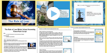 The Rule of Law Whole School Assembly Pack - , court, judge, trial, High Court, Crown Court, Supreme Court, PowerPoint, assembly script, ks2 law,