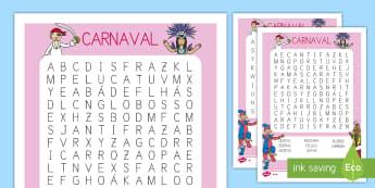 Sopa de letras de atención a la diversidad: Carnaval EI - Carnaval España, cuaresma, decoración de la clase, decoración de carnaval, disfraz, disfrazar, vo
