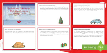 Addition and Subtraction Multi Step Word Problems Math Challenge Cards - math, Christmas, challenge cards, addition, subtraction