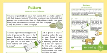 EYFS Maths: Patterns Home Learning Challenges Nursery FS1 - sequence, repeat, home work, home links, home school, parent links, carers, adult input plan, adult