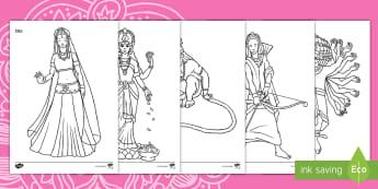 Taflenni Lliwio Diwali - Diwali, diwali, divali, rama and sita, Rama and Sita, RE, Addysg Grefyddol, Yearly Events, Dathliada