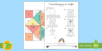 A1 Comecocos: Presentaciones - Inglés - greetings, lengua extranjera, english, juego, game,Spanish-translation