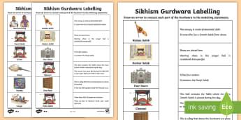 Sikhism Gurdwara Labelling Activity Sheet - Gurdwara, Guru Granth Sahib,Takht, Manji Sahib, Rumala,sihkism,sihkism,sikism,sihk,gudwara,fewer, wo