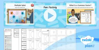 PlanIt Maths Y6 Addition, Subtraction, Multiplication and Division Lesson Pack Common Factors, Multiples and Prime Numbers (1) - Addition, Subtraction, Multiplication and Division, factoring, factors, common factors, highest comm