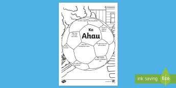 All About Me Football Activity - Te Reo Māori, Ko ahau, Poiwhana, Worksheet, Maori, start of school, welcome, ice breaker
