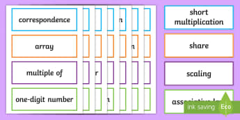 LKS2 Multiplication and Division Key Word Cards - maths vocabulary, mathematical vocabulary, correspondence, commutativity, distributive law, associat