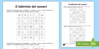 Il labirinto dei numeri Attività - valore, posizionale, maggiore, minore, esercizio, insiemi, italiano, italian, materiale, scolastico