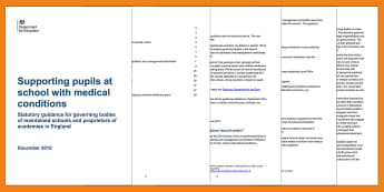 Supporting Pupils with Medical Conditions at School 2017 Adult Guidance - SEND, Medical, medical conditions, supporting children in school, disability